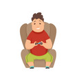 overweight boy playing computer games and sitting vector image