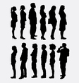 People standing queue silhouettes vector image vector image