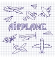 Planes on a notebook sheet vector image vector image