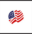 red blue star and stripes america us flag logo vector image vector image