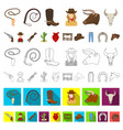 rodeo competition cartoon icons in set collection vector image vector image