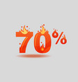 seventy percent discount numbers on fire vector image vector image