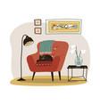 stylish scandinavian living room interior - red vector image vector image