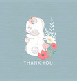 thank you cute mother and baby vector image