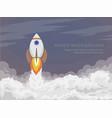 the cartoon space rocket flies into open space vector image