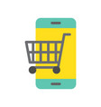 trolley on cellphone screen flat icon shopping vector image