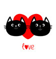 Two black cat head couple family icon red heart