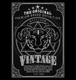vintage engraving frame border western label vector image vector image