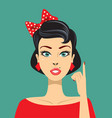 vintage pin up woman pointing vector image