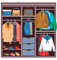 wardrobe with clothes and accessories flat vector image vector image