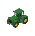 wheeled green tractor isometric 3d element vector image