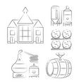 whiskey thin line icons - outline whisky process vector image
