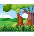 Wild animals under the tree vector image vector image