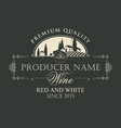 wine label with landscape of european village vector image vector image