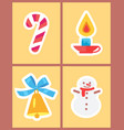 wintertime holidays icons vector image
