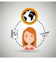 woman and world and telephone isolated icon design vector image