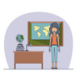 woman teacher in dress on classroom with desk with vector image vector image