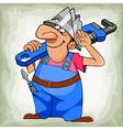 cartoon cheerful man plumber in uniform and hat vector image