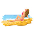 sexy young woman sunbathing in the beach vector image