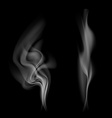 Gray smoke isolated on black background vector image
