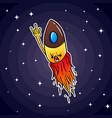 a small rocket similar to a bullet flies through vector image vector image