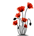Abstract red poppy vector image vector image