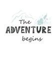 adventure begins lettering in scandinavian vector image
