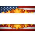 American Flag Banner Autumn leaves background vector image