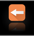 arrow icon orange sign with reflection on black