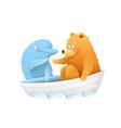 bear meets dolphin at sea animals cute cartoon vector image vector image