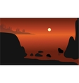 Beautiful rock in beach silhouette vector image vector image