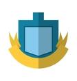 blue shield yellow ribbon badge shadow vector image vector image