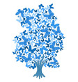 blue tree from butterflies vector image vector image