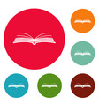 book literature icons circle set vector image vector image