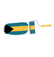 brush stroke with bahamas national flag isolated vector image vector image