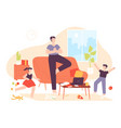 calm father dad meditate in relax yoga pose and vector image