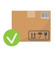 carton box with check mark flat icon vector image vector image