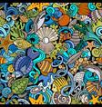 cartoon doodles sea life seamless pattern vector image vector image