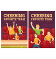 cheer favorite team posters with people on stadium vector image