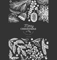 christmas banner template hand drawn on chalk vector image vector image