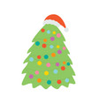 christmas tree in hat santa claus vector image vector image