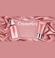 cosmetics tubes mockup rose water and cream vector image vector image