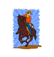 Cowboy on Horse with Lasso vector image vector image
