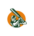 Cricket Player Batsman Batting Circle Woodcut vector image vector image