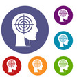 crosshair in human head icons set vector image vector image