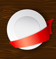 dish with red ribbon vector image vector image