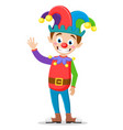 dressed up clown smiles and waves his hand fool s vector image