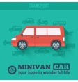 Flat minivan car background concept Tamplate for w vector image