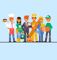 flat professional worker icon set vector image vector image