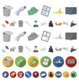 garbage and waste cartoon icons in set collection vector image vector image